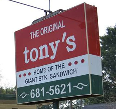 Tony's Home of the Giant Steak Sandwich Logo